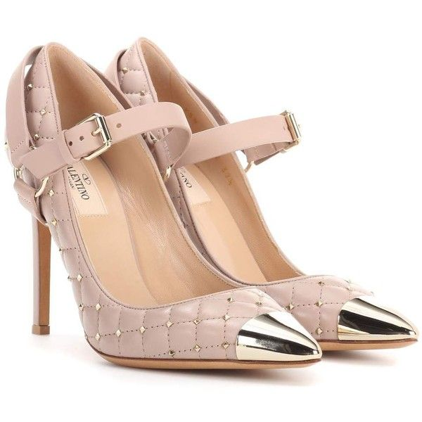 Valentino Valentino Garavani Rockstud Spike Leather Pumps ($1,270) ❤ liked on Polyvore featuring shoes, pumps, beige, beige pumps, leather footwear, valentino shoes, spiked pumps and beige shoes