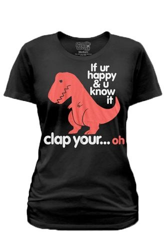 Need to lose a lot of weight to fit into one of these :(  Goodie Two Sleeves Sad T-Rex Womens T-Shirt - T-Shirts