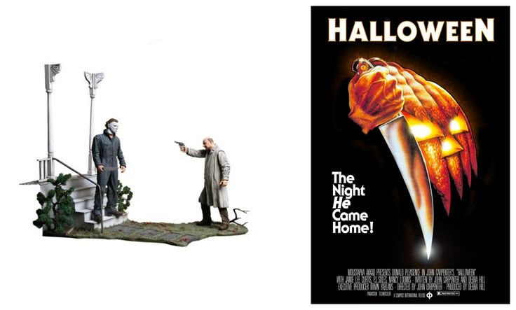 """Halloween 1978:   """"The Night He Came Home"""" Michael Myers and Dr. Loomis (Donald Pleasence) Diorama. Incredible movie-accurate detail brings to life the front porch and yard of the Myers home."""