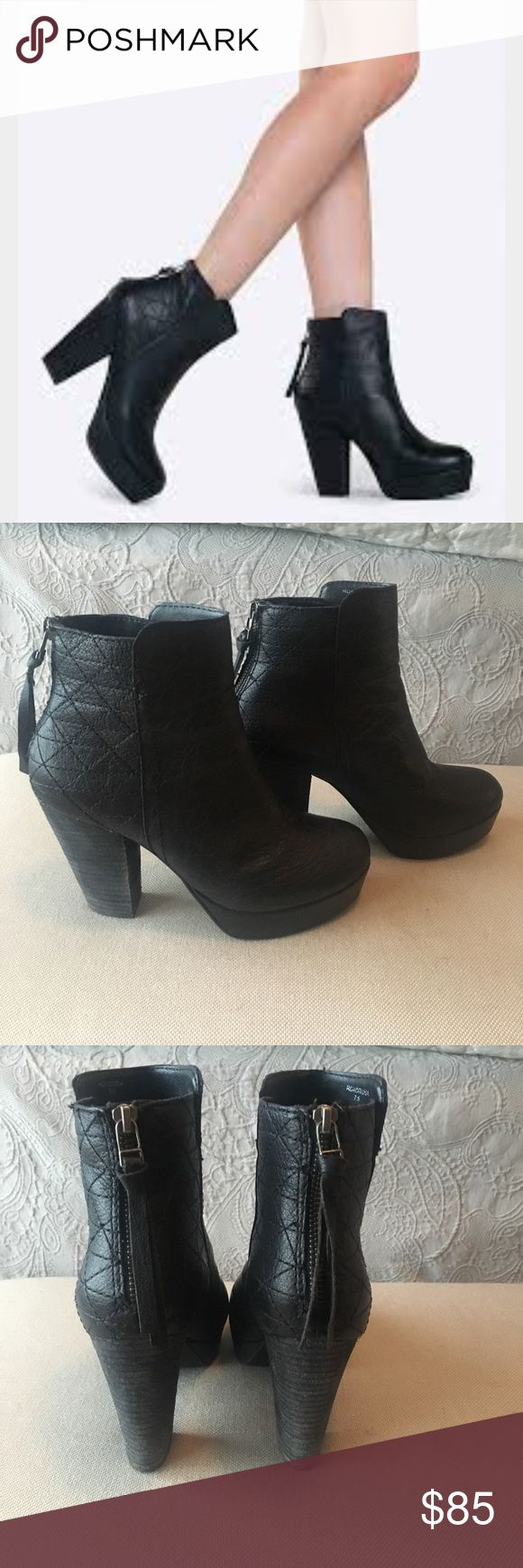 """Steve Madden- Roadruna Booties in Black size 7.5 -CONDITION: EUC! -Stay a step ahead in Steve Madden's trend-leading styles and easy-to-wear silhouettes. Inspired by rock 'n' roll and fused with a jolt of urban edge, Madden creates products that are innovative, sometimes wild and always spot-on-chic. * 3 1/2"""" heel; 1"""" platform * 6 1/2"""" shaft. * Back zip closure. * Leather upper/textile and synthetic lining/rubber sole. -Questions and REASONABLE offers are welcome  -Pet friendly home but…"""