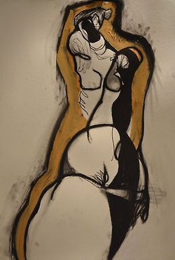 Drawing by Carmel Jenkin, Nude 6., mixed media on paper, 81cm x 57cm drawing restlessly today… Facebook Page This piece will be available for purchase on Daily Painters July 9th.