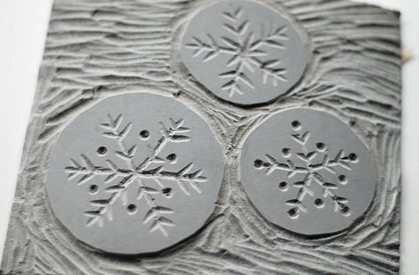 Snowflake Lino cut
