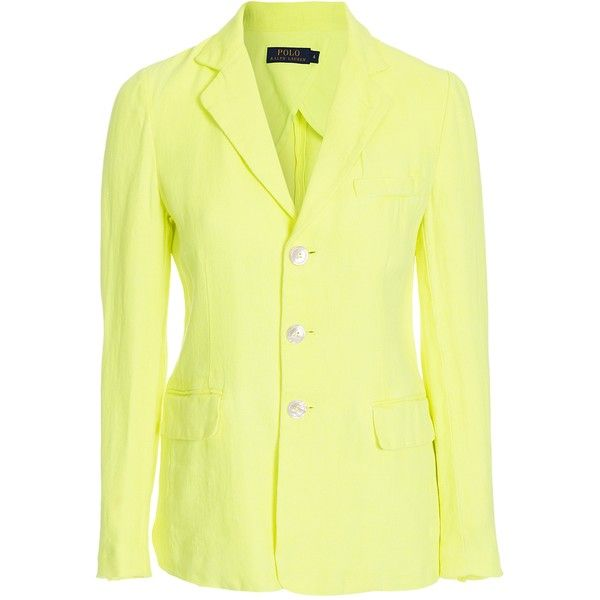 Polo Ralph Lauren Claremont Jacket (€105) ❤ liked on Polyvore featuring  outerwear, jackets, blazer jacket, yellow blazer, yellow blazer jacket, lin…