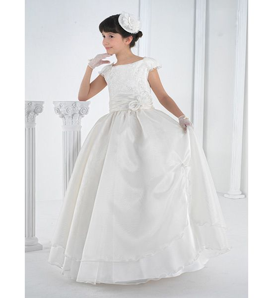 Exquisite Sheath/Column Jewel Short Sleeve Beading Lace Sashes/Ribbons Floorlength Lace Satin Organza Tulle Flower Girl Dresses