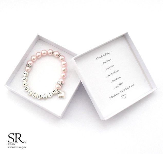 Accessoires - Armband Trauzeugin fragen Geschenk Hochzeit Perlen rosa rose Herz - ein Designerstück von sweetrosy bei DaWanda