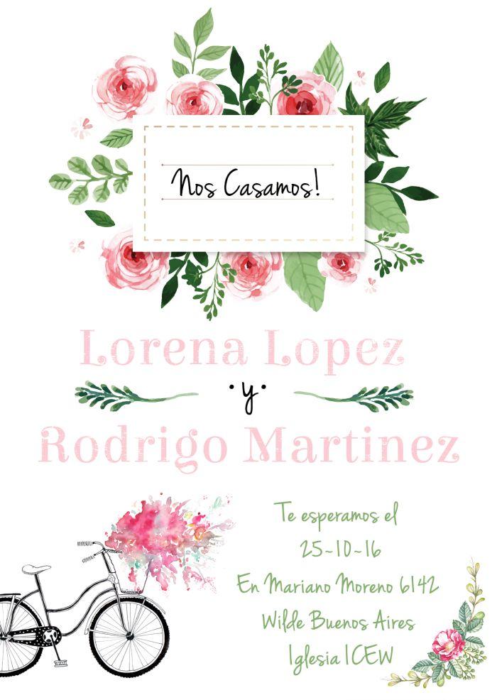 •Casamiento Aquarela Floral!• Continuamos con otra nueva línea de tarjetas para casamientos: Se trata de un pack de tarjetas personalizadas de casamiento que incluye un tarjetón, una tarjeta pers…
