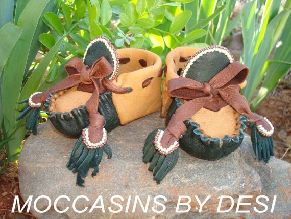 Baby Moccasins Desi Months Deerskin Leather