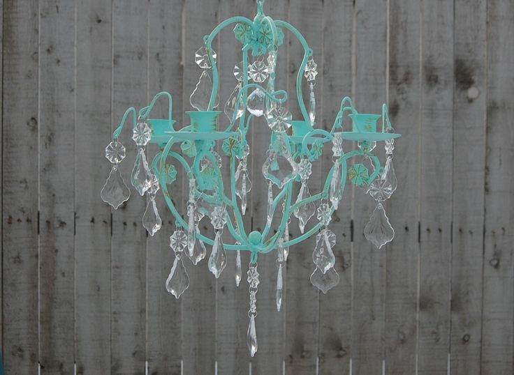 Candle Chandelier Shabby Chic Mint Green Gold Hand Painted Hanging Candle Holder Custom Colors Wedding Nursery Patio Home Decor (129.00 USD) by TheVintageArtistry