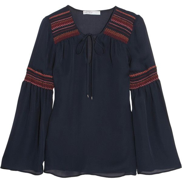 Chelsea Flower Smocked silk-chiffon blouse (525 BRL) ❤ liked on Polyvore featuring tops, blouses, navy, navy blue necktie, embellished blouse, multi color blouse, colorful blouses and navy top
