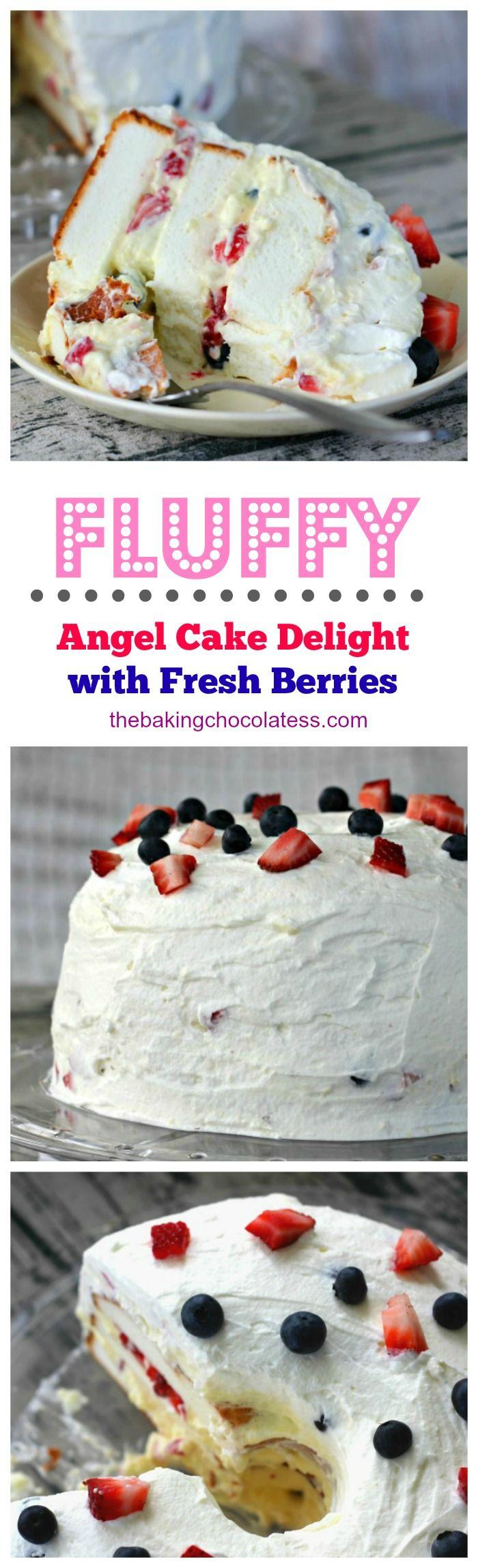 Fluffy Angel Food Cake Delight with Fresh Berries via @https://www.pinterest.com/BaknChocolaTess/