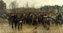 Isaac Israels, Het transport der kolonialen (Transport of the Colonial Soldiers), showing recruits for the Royal Netherlands East Indies Army walking through Rotterdam to their transport to the Dutch East Indies