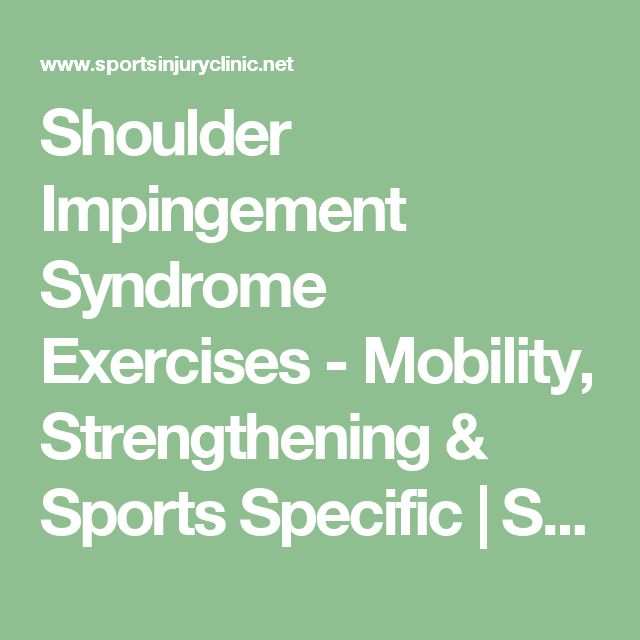 Shoulder Impingement Syndrome Exercises - Mobility, Strengthening & Sports Specific | Sportsinjuryclinic.net