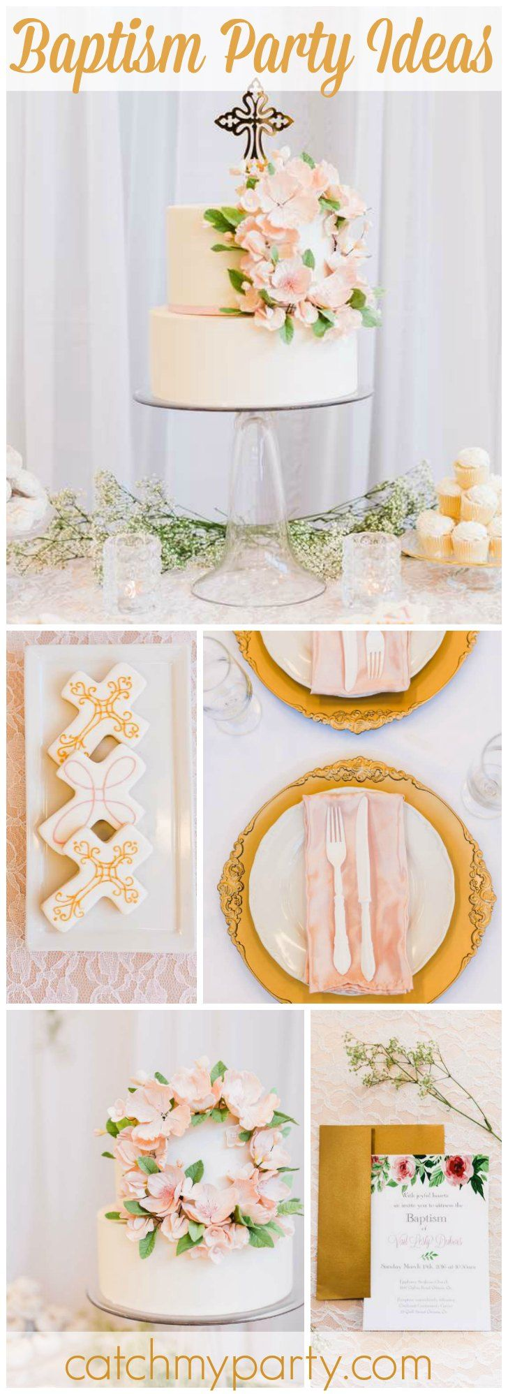 This baptism has a soft, delicate palette with gold and greenery accents! See more party ideas at CatchMyParty.com!