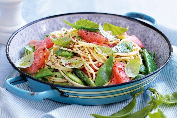 Take one pot and toss together pasta, salmon and snow peas with a zesty dressing.