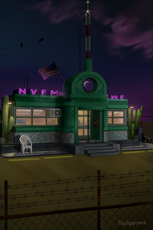 theloppyone:  Night Vale Community Radio Station at night Sorry i haven't posted any of my art in a while, this ridiculous thing has been taking up all my time over the last month! Anyways its finally finished, so enjoy :p