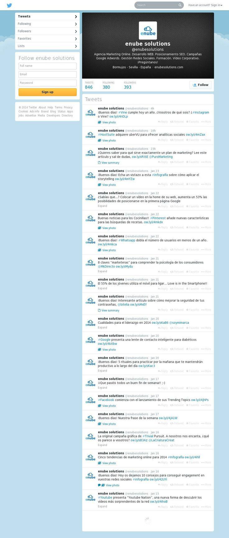 Enube Marketing Solutions ¡en Twitter! ¿nos sigues? ;-D https://twitter.com/enubesolutions