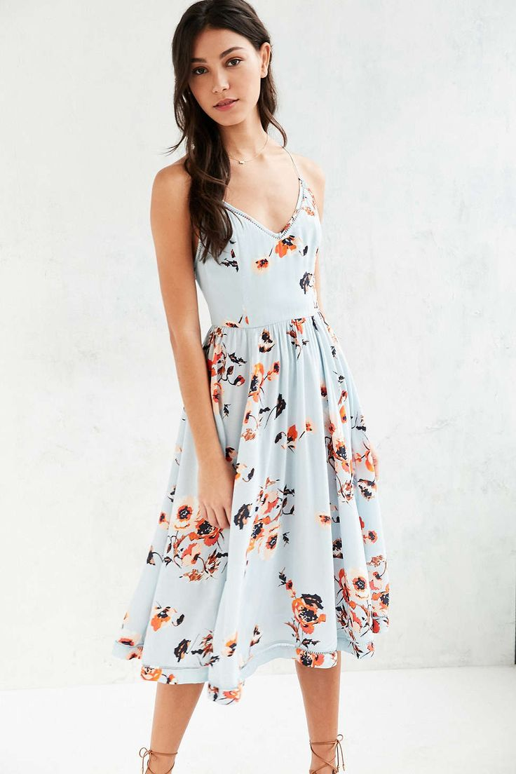 Kimchi Blue Cindy Ladder Lace Midi Dress rayon/cttn