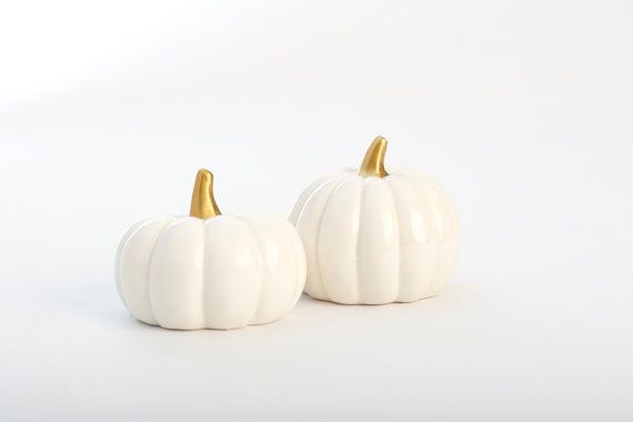 White Ceramic Pumpkins with 18 kt Gold Gilt Stems by AspenAndInk