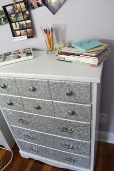 DIY Glitter Dresser. Awesome for a girls bedroom. Guys might not like it so much.@Gretchen Schaefer Schaefer Schaefer Schaefer Schaefer Schaefer Reineke this so so you!!!! | best stuff