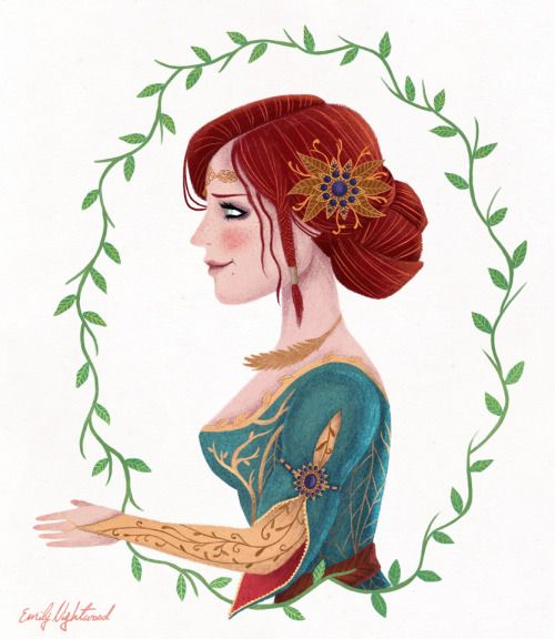 Illustration of Triss Merigold from The Witcher series - The Rose of Remembrance