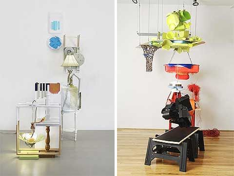 Jessica Stockholder. Left: 2006 (inv. #427), Plastic lids, plastic parts, hardware, brackets, lamps, paper mache, paint, extension cords, plastic ball, dishwashing scrubby; 104 x 47 x 63 inches. Right: 2006 (inv. #435), Plastic parts, cushion, fabric, wood, cable, shelf, yarn, electric cord, tulle, light fixture, paint; 114 x 108 x 84 inches. Courtesy the artist and Mitchell-Innes & Nash, New York.