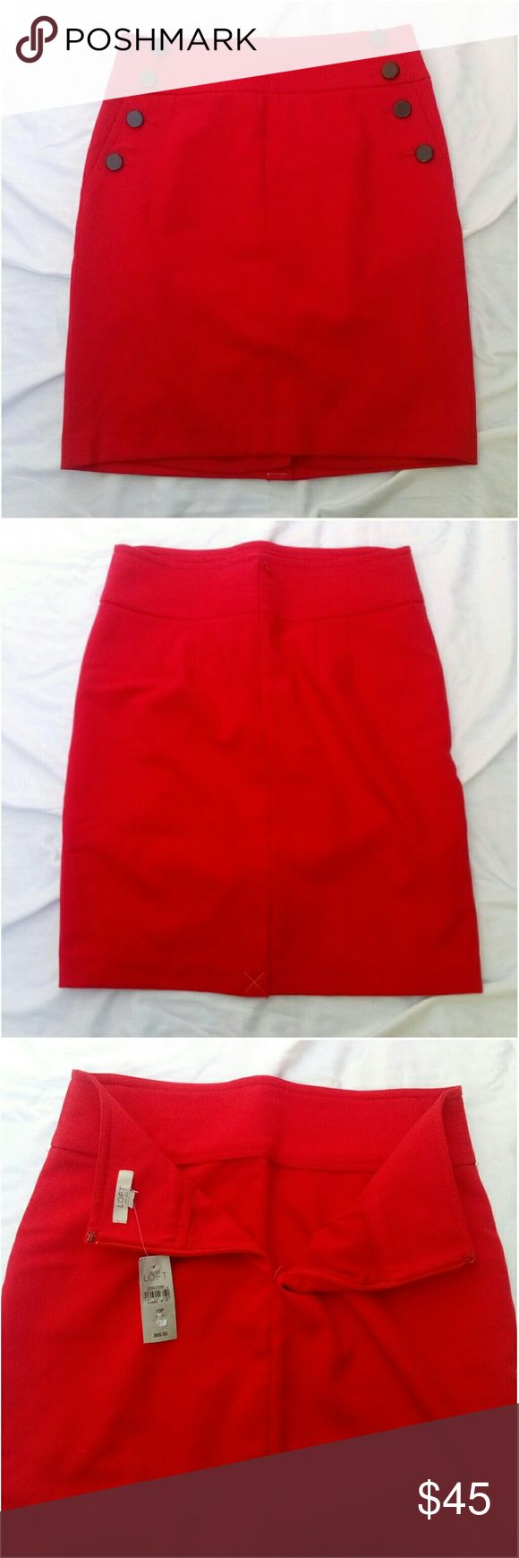 Ann Taylor Loft Sailor Pencil Skirt NWT! Ann Taylor Loft Bi-stretch sailor pencil skirt in fireball red size 10 petite. Shell: 64% polyester 33% rayon 3% spandex lining: 100% polyester. Machine wash cold separately, gentle cycle, only non-chlorine bleach when needed, tumble dry low, cool iron if needed or dry clean. *My measurements Waist- 30 Seam- 21 LOFT Skirts Pencil