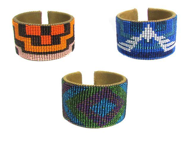 Geometric Beaded & Leather Cuff, handmade in Guatemala. #FairTuesdayGifts