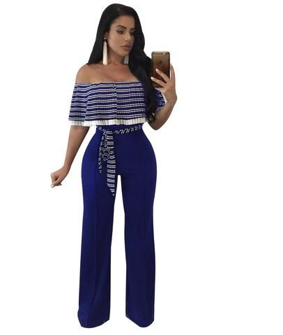 890005bd0dd7 Striped Ruffles Wide legs Jumpsuit Female Elegant Off Shoulder Party Long Jumpsuits  Overalls Sexy Rompers Womens Jumpsuit S-3XL