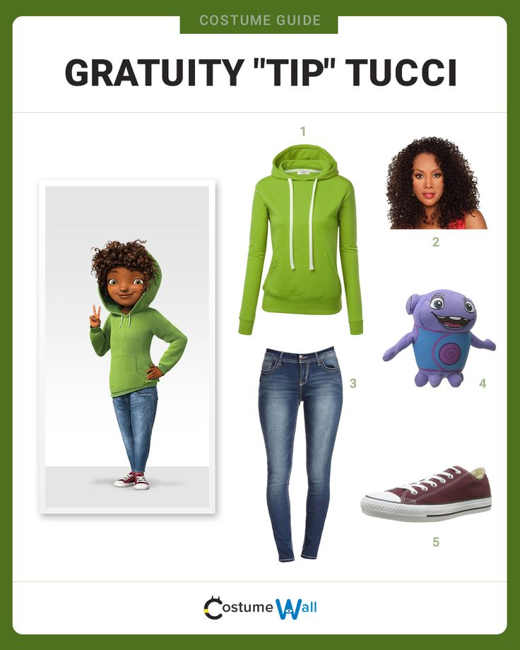 """Get into character as Gratuity """"Tip"""" Tucci with Boov alien, Oh, from the DreamWorks animated movie, Home."""