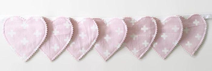 Pink nursery decor Heart bunting Pink fabric decor