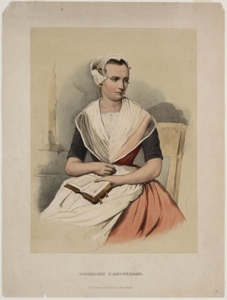 Amsterdamsch orphan girl, circa 1850. Orpheline d'Amsterdam. Valentine Bing and Jan Braet von Uberfeldt. Buffa & Fils, François. Colored lithography on paper. Traditional costumes in the Netherlands, Dutch Open Air Museum.
