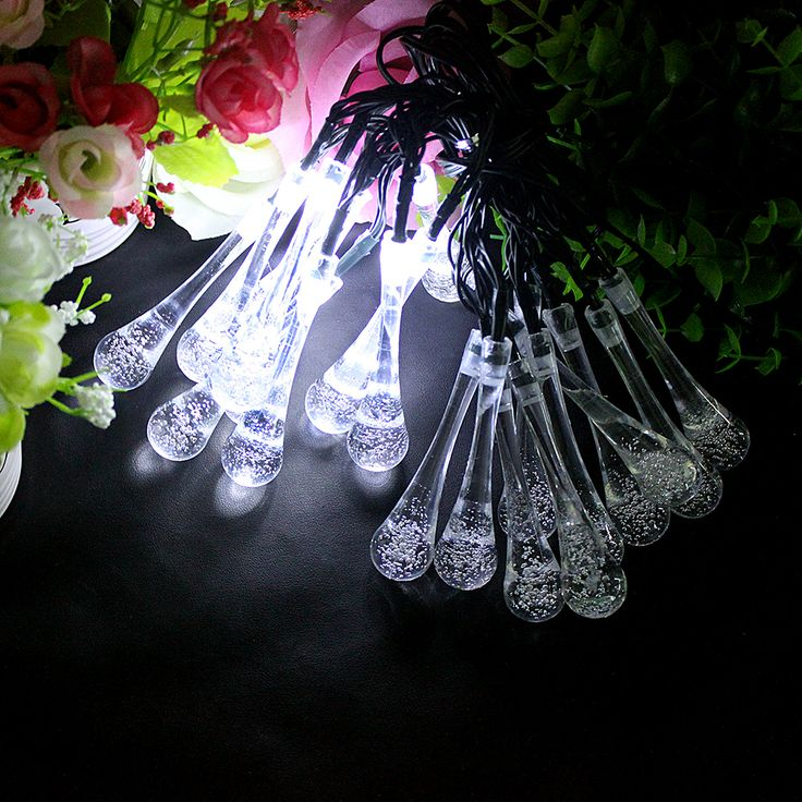 20 LED Solar Lights Water Drop Shape 8 Modes Fairy lights For Trees Decoration Garland LED Christmas Indoor lighting strings #KF #Affiliate
