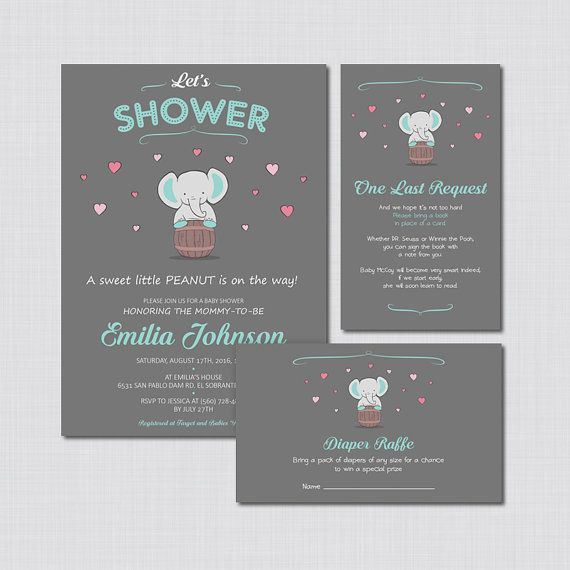 Elephant Baby Shower Invitation Girl Elephant by CutePaperStudio