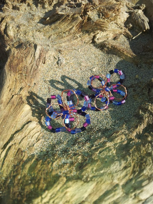 Harlequin Flower Purple Beaded Copper Wire Bridal Bridesmaid Earrings £12.00