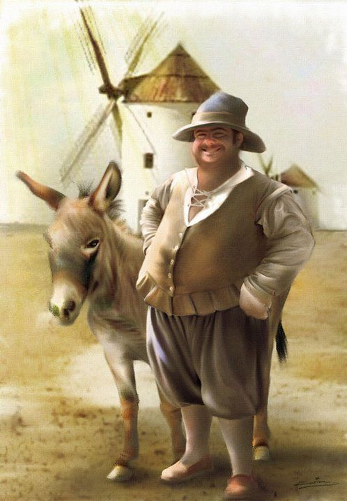 Sancho Panza es el escudero de Don Quijote, el segundo personaje más importante y el que vive con él las aventuras.