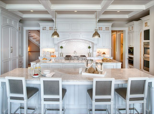 """Benjamin Moore Paint Color.  """"Benjamin Moore White Diamond OC-61"""". White Kitchen Paint Color.  Benjamin Moore White Diamond OC-61  #BenjaminMoore #WhiteDiamond #OC61 It's easy to fall in love with a classic, crisp white kitchen like this one! Cabinet paint color is """"Benjamin Moore White Diamond OC-61″.  Kitchen Dimensions: The islands are 40″ deep x 11′ long. The cabinets on range wall are 24″ deep.  All appliances in this kitchen are by """"Thermador""""."""