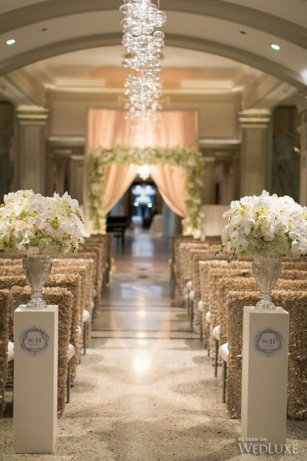 Beautiful Ceremony Setup In Gold And White Photography By Sweet Pea