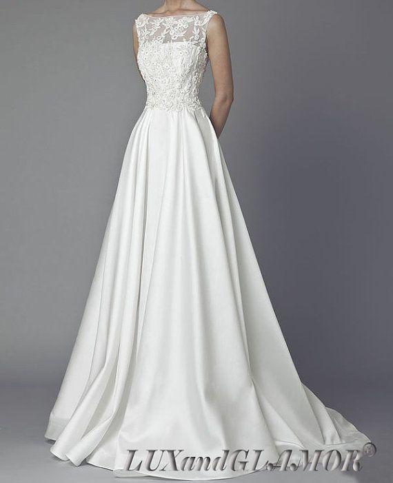 wedding-dressa-line-lace-satin-wedding