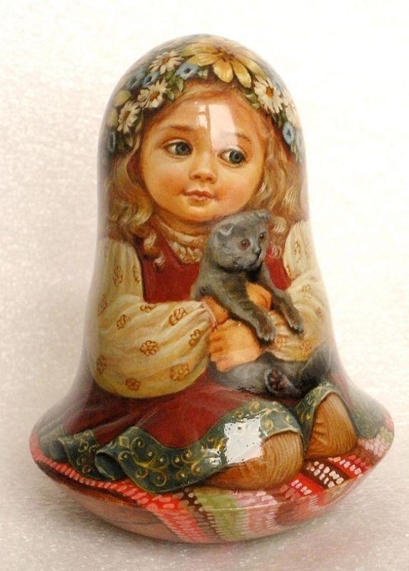 Русская матрешка-стакан кукла бабушка красоты девушка кошка ручная работа эксклюзив