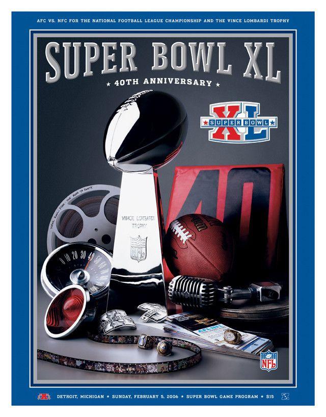 2006 Steelers vs Seahawks 36 x 48 Canvas Super Bowl XL Program
