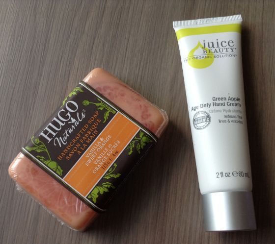 Escape Monthly Subscription Box Review and Coupon – May 2014 Hugo Naturals Handcrafted Soap in Vanilla & Sweet Orange – Value $4  Juice Beauty Green Apple Age Defy Hand Creme – Value $12