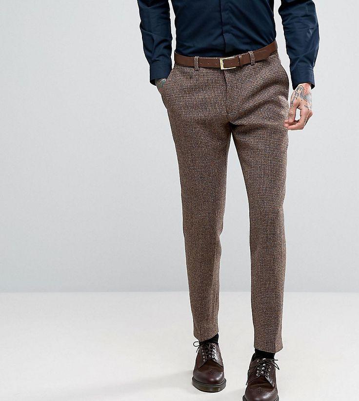 Heart & Dagger Harris Tweed Skinny Suit Pants - Brown