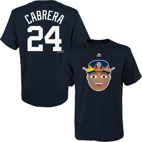 Miguel Cabrera Detroit Tigers Majestic Name & Number Emoji T-Shirt - Navy - $24.99