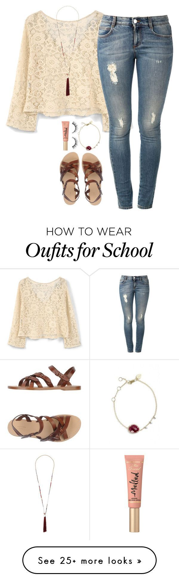 """School outfit tomorrow :))"" by lilypackard on Polyvore featuring MANGO, STELLA McCARTNEY, rag & bone, Topshop, Meira T and Too Faced Cosmetics"