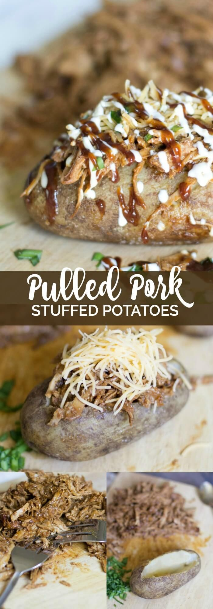 These Pulled Pork Stuffed Potatoes taste amazing and your whole family will love them! #KCMasterpiece #ad @KCMBBQ