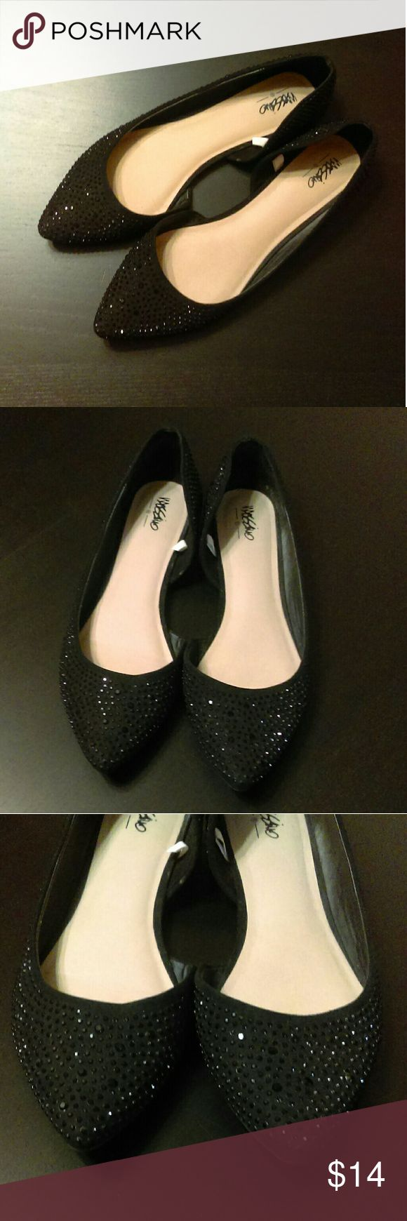 Massini Black Rhinestone Pointy Toe Flats Excellent condition black flats with black rhinestones covering entire upper. Pointy toes, like-new condition. Massini Shoes Flats & Loafers
