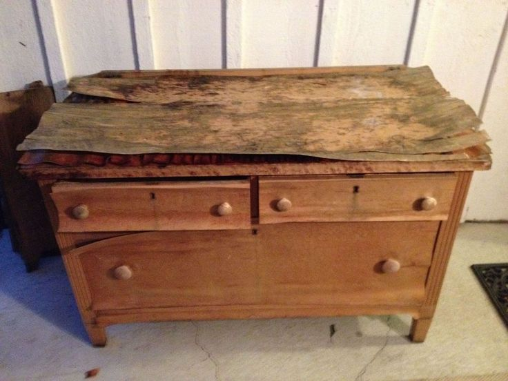 How to Remove Old Veneer Before and After. Metallic Painted Dresser