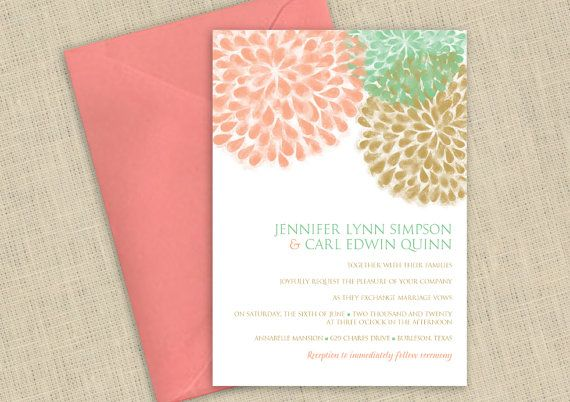 Wedding Invitation - DOWNLOAD Instantly - EDITABLE TEXT - Rustic Mums (Peach, Mint, Gold) 5 x 7 - Microsoft Word Format on Etsy, $12.00