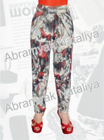 26$ Трикотажные брюки большого размера для девушек с цветочным принтом и драпировкой Артикул 951, р50-64 Брюки трикотажные большие размеры