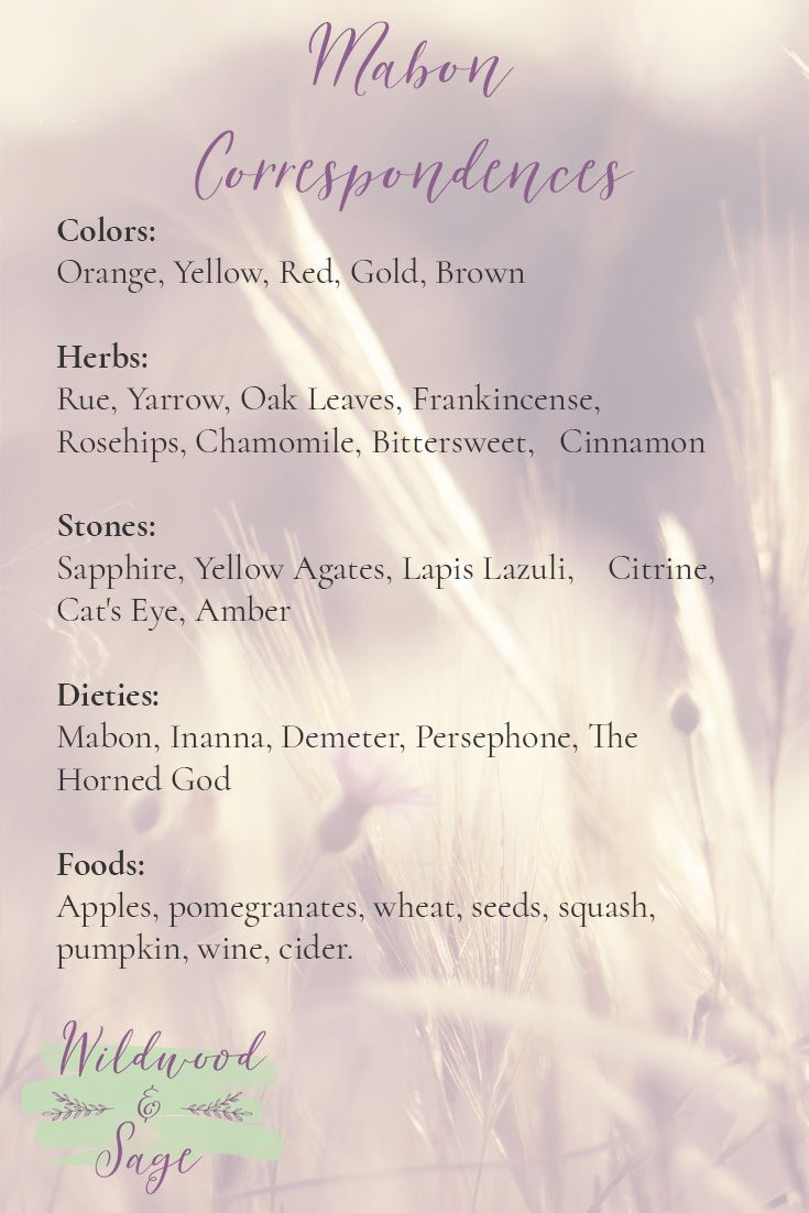 Blessed Mabon! Plan your Mabon sabbat and Mabon rituals with these Mabon correspondences. Add this handy list of Mabon correspondences to your BoS!
